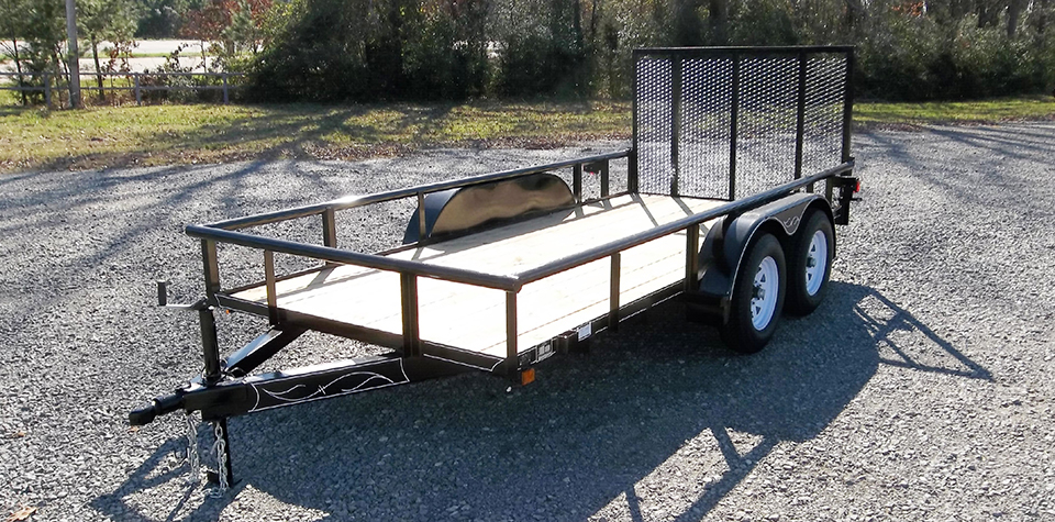 D & P Medium Duty Pipe Top Series Utility Trailer with Ramp Gate